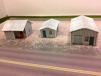 Z Scale Buildings Kit - (3) Metal Textured - Coverstock Paper Model Kit SK4