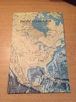 Vintage 1969 National Geographic Map of Pacific Ocean Floor