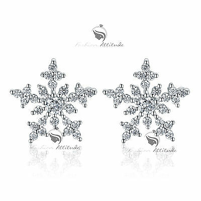 18k white gold gf made with SWAROVSKI crystal stud snowflake earrings 925 silver
