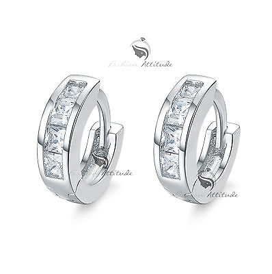 18k white gold gf made with SWAROVSKI crystal classic huggies earrings small