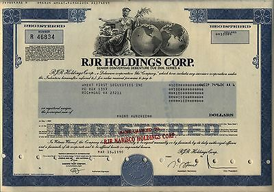RJR Holdings Corp Stock Bond Certificate Nabisco