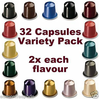 Nespresso Coffee Starter Pack, 32 x Capsules, 16 Flavours Sold Loose)