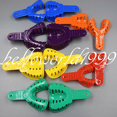 12Pcs Autoclavable Dental Impression Tray Plastic High Quality Assorted Color
