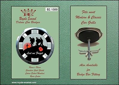 Royale Car Grill Badge & fittings GREY UNION JACK LEST WE FORGET POPPY - B2.1589