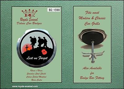 Royale Car Grill Badge & fittings - BATTLEFIELD LEST WE FORGET POPPY - B2.1590