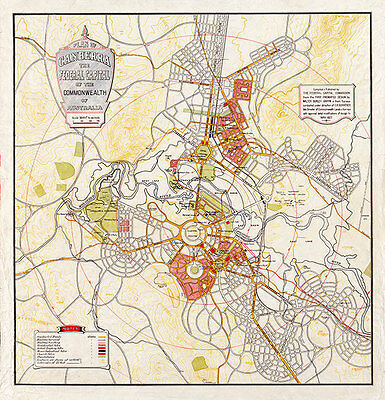 Plan of Canberra the Federal Capital of Australia Vintage Map A3+ Canvas Print