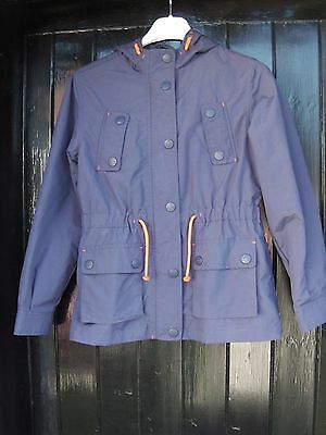 Next girls navy shower proof winter hooded jacket aged 9-10 years