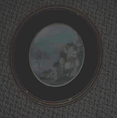 """Antique Oval Print In Original Frame """"january""""stipple Engraving By F Bartolozzi"""