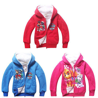 Kids Boy's/Girls Paw Patrol Hoodies Coral Velvet Jumper Hoody Jacket Coat 4-7T