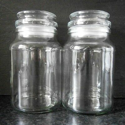 2x 200G MOCCONA COFFEE LARGE GLASS JARS Kitchen Canisters or Lolly / Cookie Jars