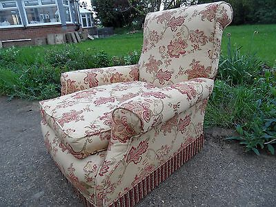 Antique Victorian Fireside Library Howard Style Deep Seat Fabric ArmChair Chair