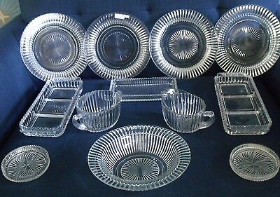 HUGE SET Vintage Queen Mary Anchor Hocking fancy cut glass dishes VERY HEAVY