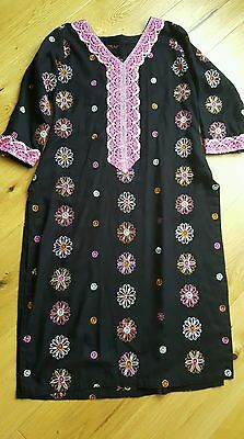 Black garam winter kameez salwar pakistani asian indian dress suit gul ahmed M