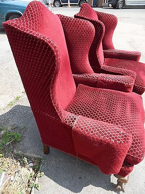 Pair Antique Victorian Style Carved Legs Ornate Hump Wing Winged Back Armchairs