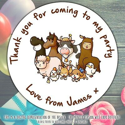 Personalised Farm Animals Birthday Party Round Stickers Labels Cone Sheet
