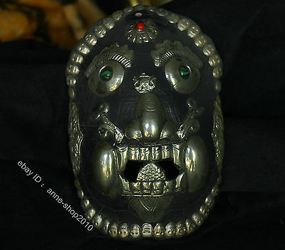 Tibet Temple Old Collect silver Ruby inlay Halloween Black Grimace wry face Mask
