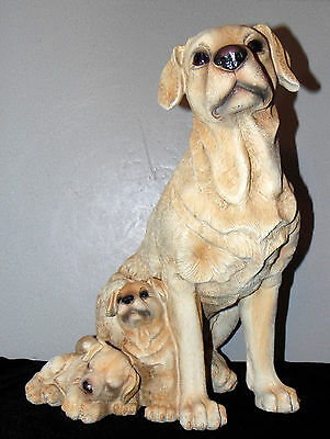 Very Large Yellow Labrador Dog With Puppies Figurine