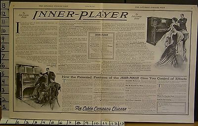 1909 Inner Player Piano Music Vallely Chicago Roll Sound Musician Art Ad 23025