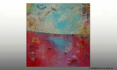 Blue Pink Abstract Painting Original Acrylic Art Large Colourful Wall Decor
