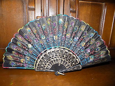 Collectable vintage multi coloured peacock feather sequin embroidered hand fan