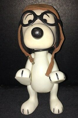 Vintage 1966 Snoopy Flying Ace Pilot Red Baron ~Jointed Vinyl Plastic~Hat Goggle