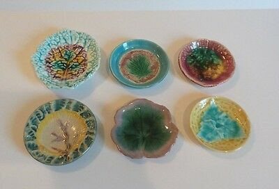 GROUP/6 COLORFUL 19th C. ANTIQUE ENGLISH & AMERICAN MAJOLICA BUTTER PATS
