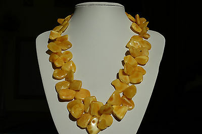 Antique Baltic Sea Amber Necklace 73 Grams Beeswax,egg Yolk Color.古董波罗的海琥珀项链73克蜂