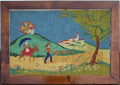 Antique Folk Art - Needle Point/Stitched Cloth - Man Leading Horse With Lady