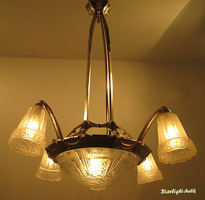 Stunning French Art Deco Chandelier 1925 - Signed: P.maynadier