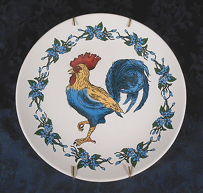 8 1/2\  Blue Red \u0026 Orange Rooster \u0026 Flowers Decorative Collector Plate & SET OF 2 RED ROOSTER 10\