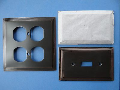 3 HEAVY Oil Rubbed Bronze Switch Plate Covers Restoration Hardware NO SCREWS