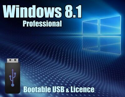 Windows 8.1 Pro Professional 64bit Licence key + bootable USB - 100% genuine