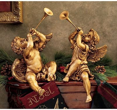Roman Italian Baroque Style Era Angels In Tune W/ The Heavens Sculpture Statue