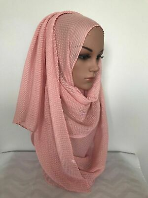 MAXI Soft VISCOSE Plain Ripple Patterned Scarf Hijab 170 x 60 cm - 180 x 80 cm