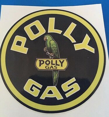 "24/"" ROUND POLLY GAS DECAL OIL GASOLINE PUMP SIGN STICKER POLLY-5"
