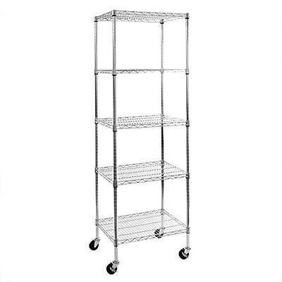 Seville Classics Ultrazinc 5-Shelf NSF Wire Shelving Rack with wheels, 18 x 24 x