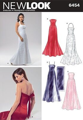 NEW LOOK Sewing Pattern Miss Evening Gown Dress Wedding Special Occasion~ 6454