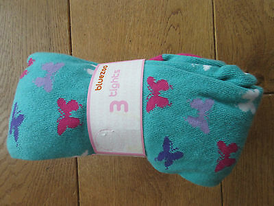 Bluezoo (Debenhams) 3 Pack Pink/Lilac/Green Butterfly/ Spot Tights BNIP Age 7-8