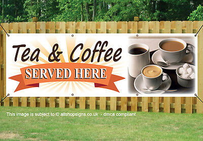 TEA AND COFFEE TO TAKEAWAY BANNER OUTDOOR SIGN PVC with Eyelets NTFS3