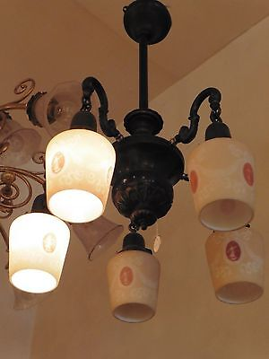 Vintage Five arm chandelier with neo classical case shades
