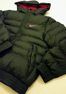 Nike Junior Puffer Coat Jacket Removable Hood Black/pink 10-12 Yrs Rrp£65 Bnwt