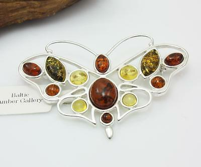 NATURAL BALTIC AMBER STERLING SILVER 925 BROOCH Butterfly - Certified Mother Day