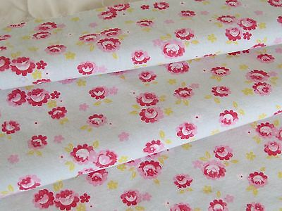 Antique 19th C French Fabric Material Roses Pink Red Floral Cotton