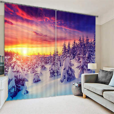 Snow Forest Sunset 3D Curtain Blockout Photo Curtains Print Home Window Decor