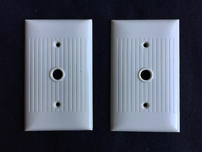 2 Vintage Sierra Electric Company Ivory Bakelite Ribbed Cable Cover Plates