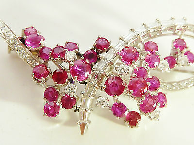 STUNNING VINTAGE 1940's 18CT WHITE GOLD 5CT+ RUBY & DIAMOND 1.6CT  BROOCH
