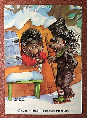 GDR postcard 1960s Winter fancy card Dressed hedgehog chimney sweep smoker