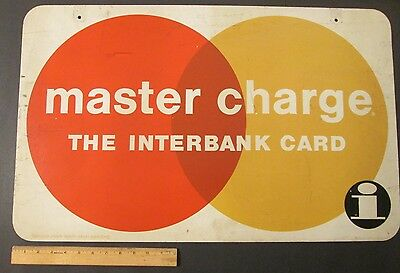 """Large Early Vintage """"MASTER CHARGE THE INTERBANK CARD"""" DOUBLE SIDED METAL SIGN"""