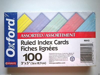 """OXFORD ~ PKG. OF 100 ASSORTED COLOURS 3"""" x 5"""" RULED INDEX CARDS"""