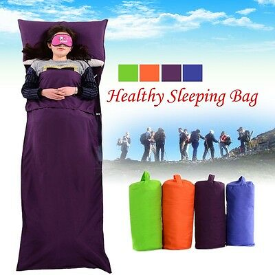 Adult Envelope Travel Camping Hiking Healthy Sleeping Bag Liner with Pillowcase
